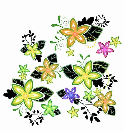 simsearch:400-04697977,k - illustration drawing of some beautiful colourful flowers Stock Photo - Budget Royalty-Free & Subscription, Code: 400-04700654