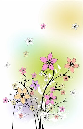 simsearch:400-04697977,k - drawing of beautiful flower in a colourful background Stock Photo - Budget Royalty-Free & Subscription, Code: 400-04700655