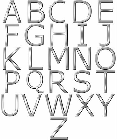 fancy letters - 3d silver alphabet isolated in white Stock Photo - Budget Royalty-Free & Subscription, Code: 400-04701282