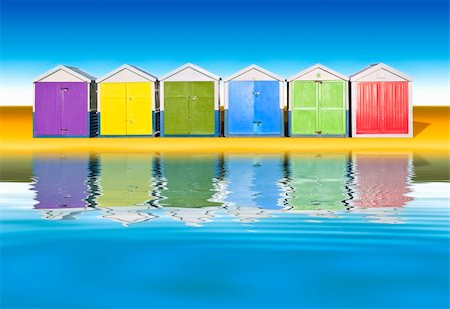 An image of colorful little beach huts Stock Photo - Budget Royalty-Free & Subscription, Code: 400-04702255