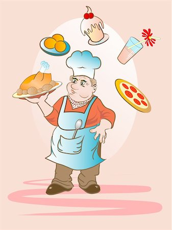 Cartoon cook keeping a plate with baked chicken Stock Photo - Budget Royalty-Free & Subscription, Code: 400-04703063