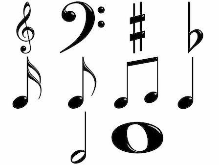 quarter note - 3d music notes isolated in white Stock Photo - Budget Royalty-Free & Subscription, Code: 400-04703617