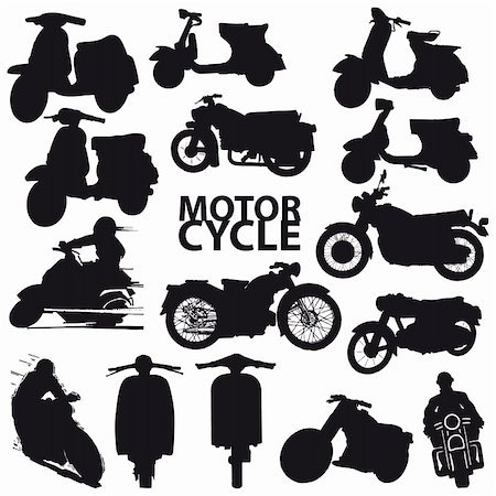 sports scooters - set of motorcycle vector Stock Photo - Budget Royalty-Free & Subscription, Code: 400-04714546