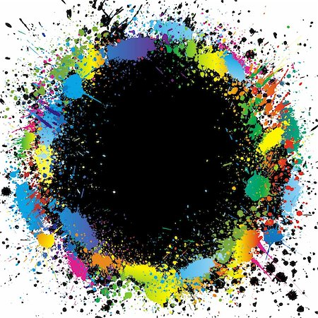 pouring ink vector - Illustration of color paint splashes on black background and with place for your text Stock Photo - Budget Royalty-Free & Subscription, Code: 400-04715353