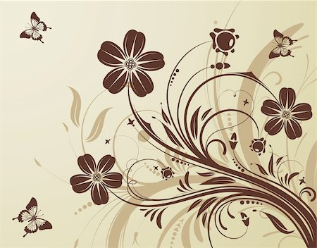 filigree designs in trees and insects - Floral background with butterfly, element for design, vector illustration Stock Photo - Budget Royalty-Free & Subscription, Code: 400-04715777