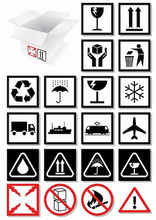 Vector illustration set of different packing symbols, e.g. fragile, recycle symbol. All vector objects and details are isolated and grouped. Colors and transparent background are easy to adjust. Stock Photo - Budget Royalty-Free & Subscription, Code: 400-04717105