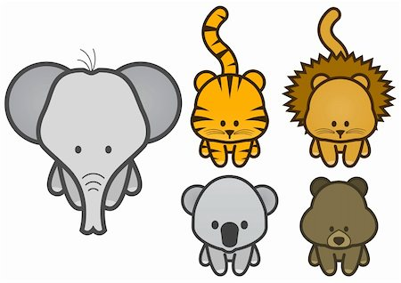 Vector illustration set of different cartoon wild/zoo animals. All vector objects and details are isolated and grouped. Colors and transparent background color are easy to adjust. Stock Photo - Budget Royalty-Free & Subscription, Code: 400-04717146