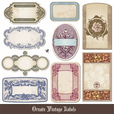 set of ornate vintage labels in different styles Stock Photo - Budget Royalty-Free & Subscription, Code: 400-04717703