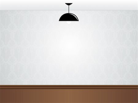 Vector - Empty white room wall with black lamp and wooden floor Stock Photo - Budget Royalty-Free & Subscription, Code: 400-04718019