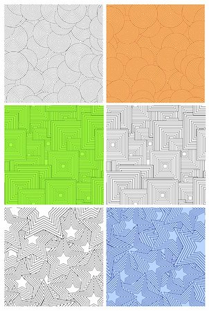 Set retro geometric seamless background. Vector illustration Stock Photo - Budget Royalty-Free & Subscription, Code: 400-04719429