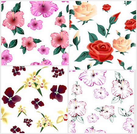 simsearch:400-04765926,k - Four cute floral seamless pattern. Vector illustration Stock Photo - Budget Royalty-Free & Subscription, Code: 400-04719435