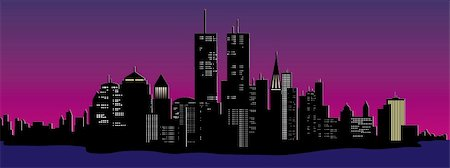 vector illustration of a night time city skyline Stock Photo - Budget Royalty-Free & Subscription, Code: 400-04719655