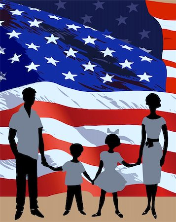Silhouette of a family background on American flag Stock Photo - Budget Royalty-Free & Subscription, Code: 400-04719658