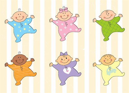 Cartoon multi racial babies – vector illustration Stock Photo - Budget Royalty-Free & Subscription, Code: 400-04710012