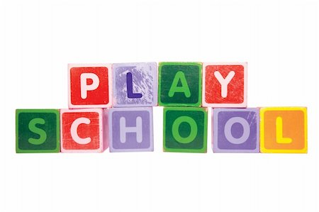 assorted childrens toy letter building blocks against a white background that spell playschool with clipping path Stock Photo - Budget Royalty-Free & Subscription, Code: 400-04710438