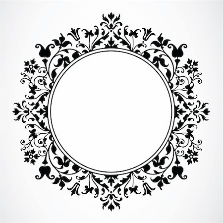 Detailed circular floral frame or border. Easy to scale to any size. Stock Photo - Budget Royalty-Free & Subscription, Code: 400-04710949