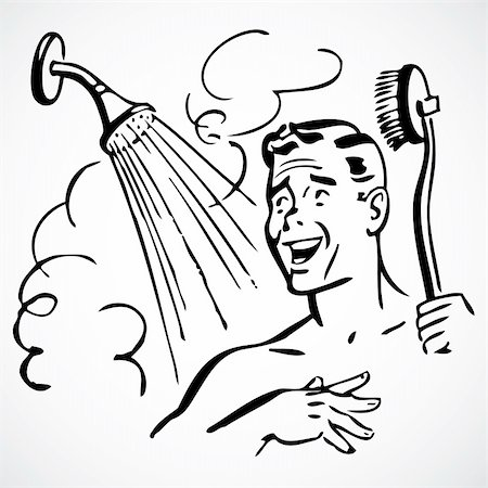 Vintage vector advertising illustrations of a man in the shower. Stock Photo - Budget Royalty-Free & Subscription, Code: 400-04711093