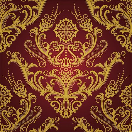 Luxury red & gold floral damask wallpaper vector illustration Stock Photo - Budget Royalty-Free & Subscription, Code: 400-04711699