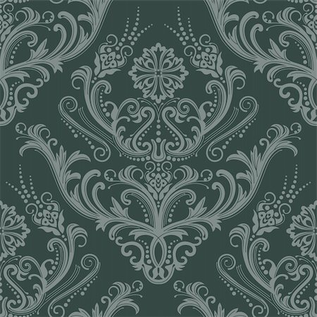 Luxury green floral damask wallpaper vector illustration Stock Photo - Budget Royalty-Free & Subscription, Code: 400-04711747