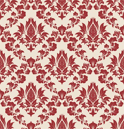 Damask seamless vector background.  For easy making seamless pattern just drag all group into swatches bar, and use it for filling any contours. Stock Photo - Budget Royalty-Free & Subscription, Code: 400-04712186