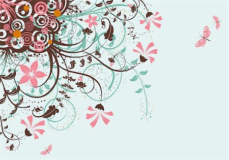 filigree designs in trees and insects - Floral Background with butterfly, element for design, vector illustration Stock Photo - Budget Royalty-Free & Subscription, Code: 400-04713434