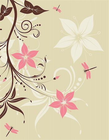 filigree designs in trees and insects - Floral Background with dragonfly, element for design, vector illustration Stock Photo - Budget Royalty-Free & Subscription, Code: 400-04713437