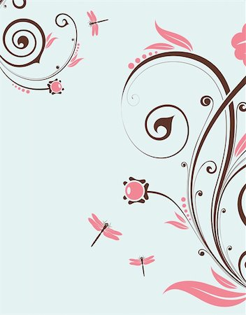 filigree designs in trees and insects - Floral Background with dragonfly, element for design, vector illustration Stock Photo - Budget Royalty-Free & Subscription, Code: 400-04713439