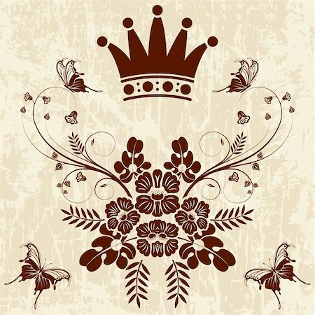 filigree designs in trees and insects - Grunge Floral frame with Crown, vector illustration Stock Photo - Budget Royalty-Free & Subscription, Code: 400-04713431