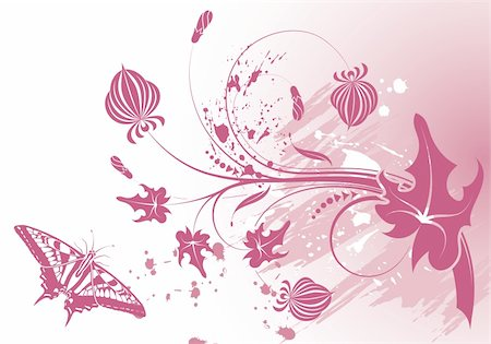 simsearch:400-03995944,k - Grunge paint flower background with butterfly, element for design, vector illustration Stock Photo - Budget Royalty-Free & Subscription, Code: 400-04713447