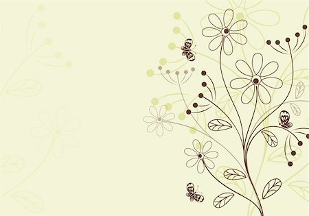 filigree designs in trees and insects - Retro Floral Background with butterfly, element for design, vector illustration Stock Photo - Budget Royalty-Free & Subscription, Code: 400-04713442