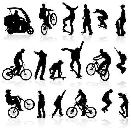 sports scooters - Extreme silhouettes man on roller, bicycle, scooter, skateboard, vector illustration Stock Photo - Budget Royalty-Free & Subscription, Code: 400-04713472