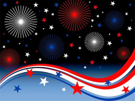 fireworks vector art - vector eps10 illustration of stars, stripes and fireworks Stock Photo - Budget Royalty-Free & Subscription, Code: 400-04724102