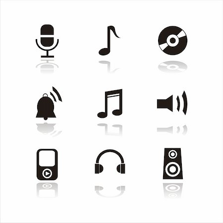 silhouette musical symbols - set of 9 musical signs Stock Photo - Budget Royalty-Free & Subscription, Code: 400-04724498