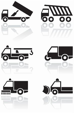 snow plow truck - Vector set of different truck symbols. All vector objects are isolated. Colors and transparent background color are easy to adjust. Stock Photo - Budget Royalty-Free & Subscription, Code: 400-04724917