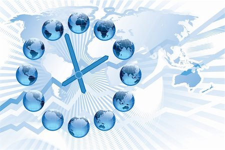 World clock with 12 globes showing earth in various positions Stock Photo - Budget Royalty-Free & Subscription, Code: 400-04725062
