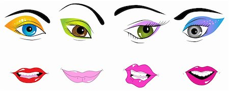 face woman beautiful clipart - Vector picture of parts of face: eyes and lips Stock Photo - Budget Royalty-Free & Subscription, Code: 400-04725812