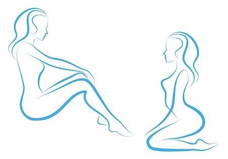 beautiful nude woman silhouettes, vector sketch Stock Photo - Budget Royalty-Free & Subscription, Code: 400-04727385