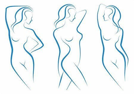 beautiful nude woman silhouettes, vector sketch Stock Photo - Budget Royalty-Free & Subscription, Code: 400-04727386