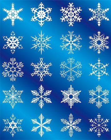 Collection of snowflakes on a blue background. Vector illustration. Vector art in Adobe illustrator EPS format, compressed in a zip file. The different graphics are all on separate layers so they can easily be moved or edited individually. The document can be scaled to any size without loss of quality. Stock Photo - Budget Royalty-Free & Subscription, Code: 400-04727481