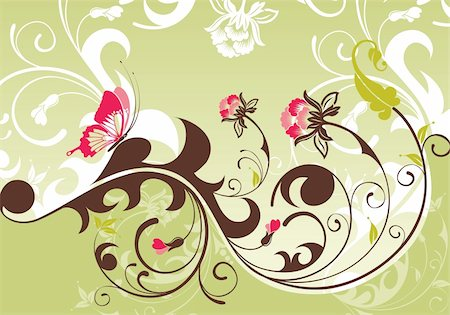 filigree designs in trees and insects - Floral Background with butterfly, element for design, vector illustration Stock Photo - Budget Royalty-Free & Subscription, Code: 400-04727715