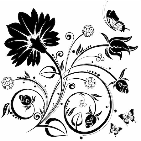 filigree designs in trees and insects - Floral Background with butterfly, element for design, vector illustration Stock Photo - Budget Royalty-Free & Subscription, Code: 400-04727719