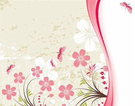 filigree designs in trees and insects - Grunge Floral Background with butterfly, element for design, vector illustration Stock Photo - Budget Royalty-Free & Subscription, Code: 400-04727720