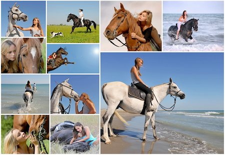 composite image with young woman and her best friend horse Stock Photo - Budget Royalty-Free & Subscription, Code: 400-04727822