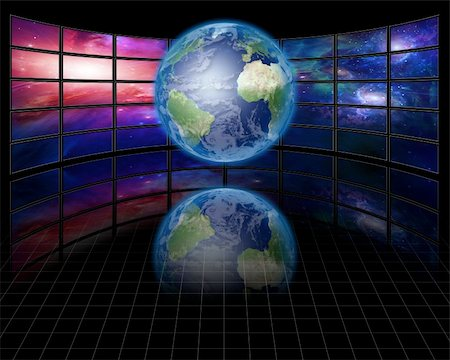 rolffimages (artist) - Video Screens with Earth Stock Photo - Budget Royalty-Free & Subscription, Code: 400-04729147