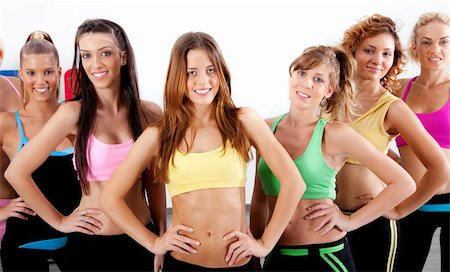 group of active ladies standing in front of camera Stock Photo - Budget Royalty-Free & Subscription, Code: 400-04729410