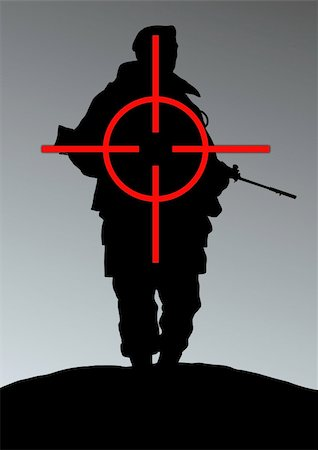 scope - Illustration of a soldier being targeted Stock Photo - Budget Royalty-Free & Subscription, Code: 400-04729556