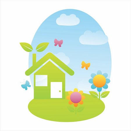 eco house landscape with flowers Stock Photo - Budget Royalty-Free & Subscription, Code: 400-04721588