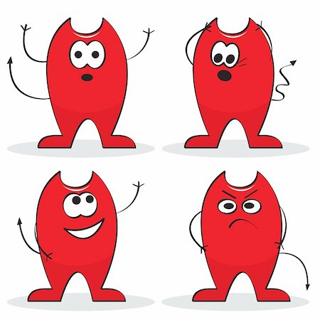 Set of four red cartoon devils. Vector illustration Stock Photo - Budget Royalty-Free & Subscription, Code: 400-04723332