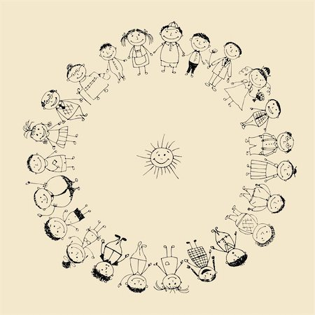 Happy big family smiling together, drawing sketch Stock Photo - Budget Royalty-Free & Subscription, Code: 400-04735413