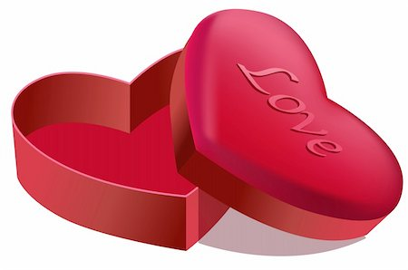 illustration drawing of beautiful red heart shape box Stock Photo - Budget Royalty-Free & Subscription, Code: 400-04735848